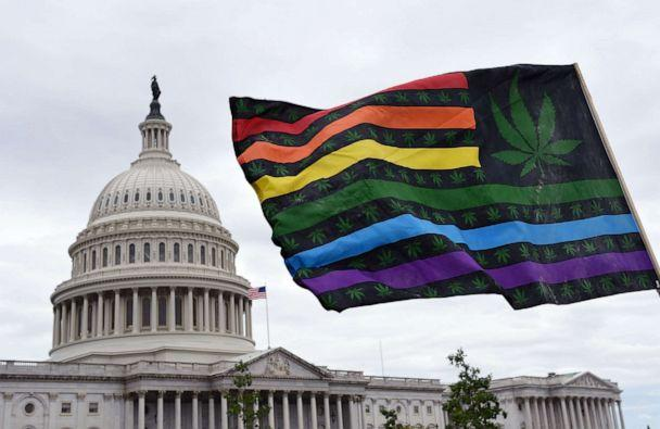 PHOTO: Activists wave flags during a rally to demand Congress to pass cannabis reform legislation on the East Lawn of the U.S. Capitol in Washington, D.C., Oct. 8, 2019. (Olivier Douliery/AFP via Getty Images, FILE)