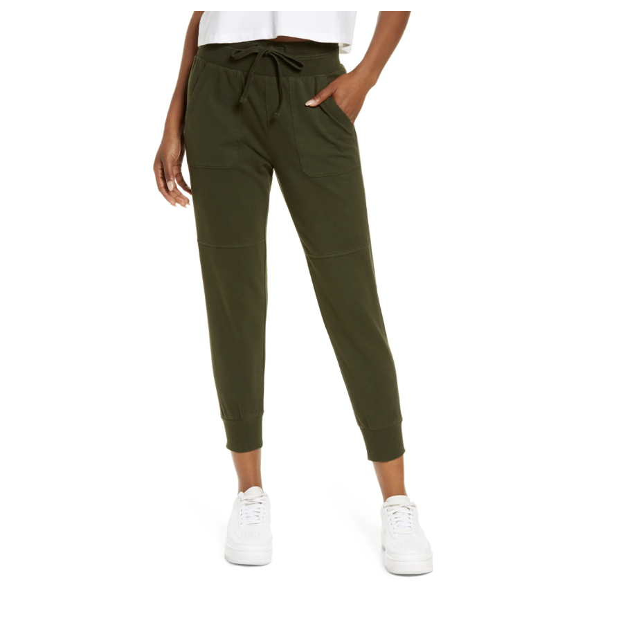 Zella Washed Organic Cotton Ankle Joggers  - Nordstrom.