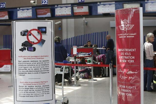 A checkpoint at Casablanca Mohammed V International Airport in Morocco, one of the airports affected by the electronics ban. (AP)