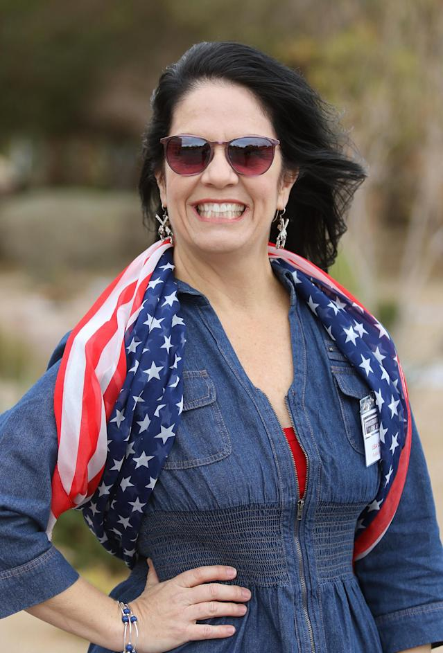 Lisa Collins, of Crestline, Calif., was a co-organizer of the Conservative Women for America rally in Las Vegas. (Photo: Ronda Churchill for Yahoo)
