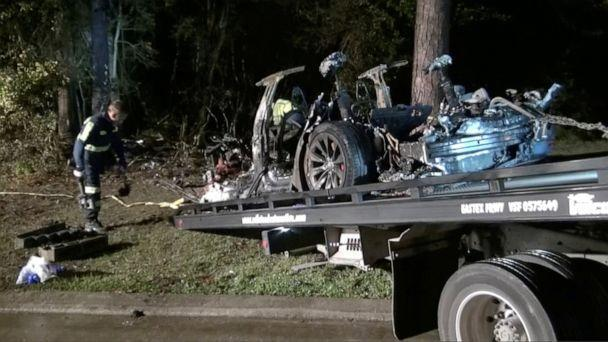 PHOTO: The remains of a Tesla vehicle are seen after it crashed in The Woodlands, Texas, April 17, 2021, in this still image from video obtained via social media. (Scott J. Engle via Reuters)