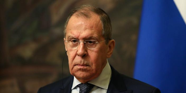 FILE PHOTO: Russia's Foreign Minister Sergei Lavrov attends a news conference following a meeting with Iran's Foreign Minister Mohammad Javad Zarif (not pictured) in Moscow, Russia June 16, 2020. Ministry of Foreign Affairs of the Russian Federation/Handout via REUTERS