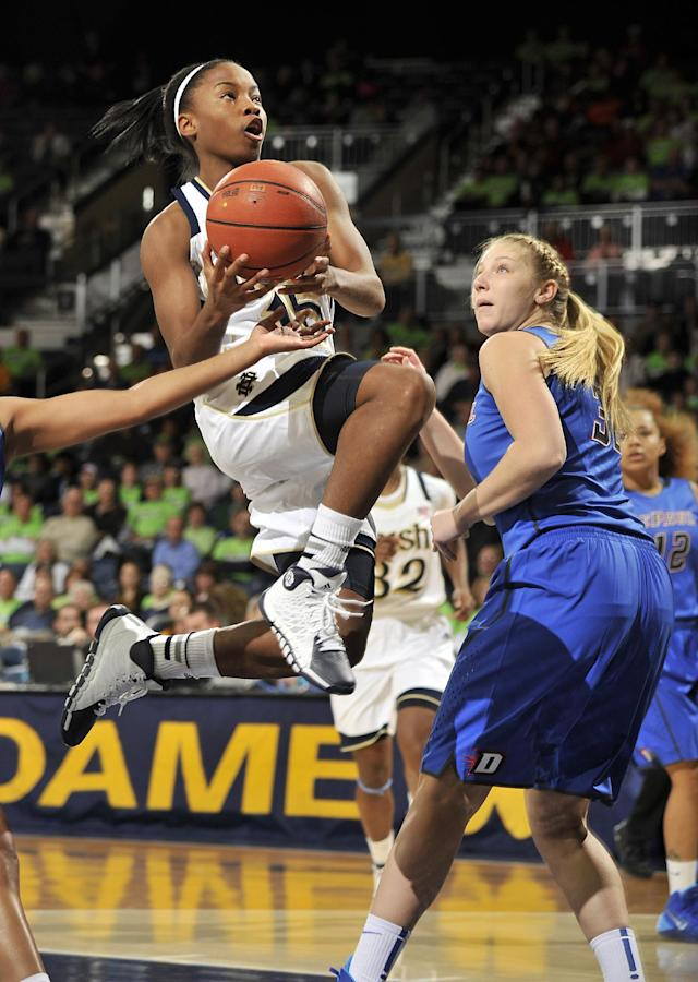 Notre Dame guard Lindsay Allen, left, drives the lane as DePaul guard Megan Podkowa defends during the first half of an NCAA college basketball game, Tuesday, Nov. 26, 2013, in South Bend, Ind. (AP Photo/Joe Raymond)