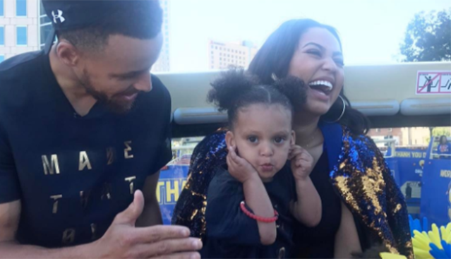 The Currys celebrating the Golden State Warrior win. (Photo: Ayesha Curry/Instagram)