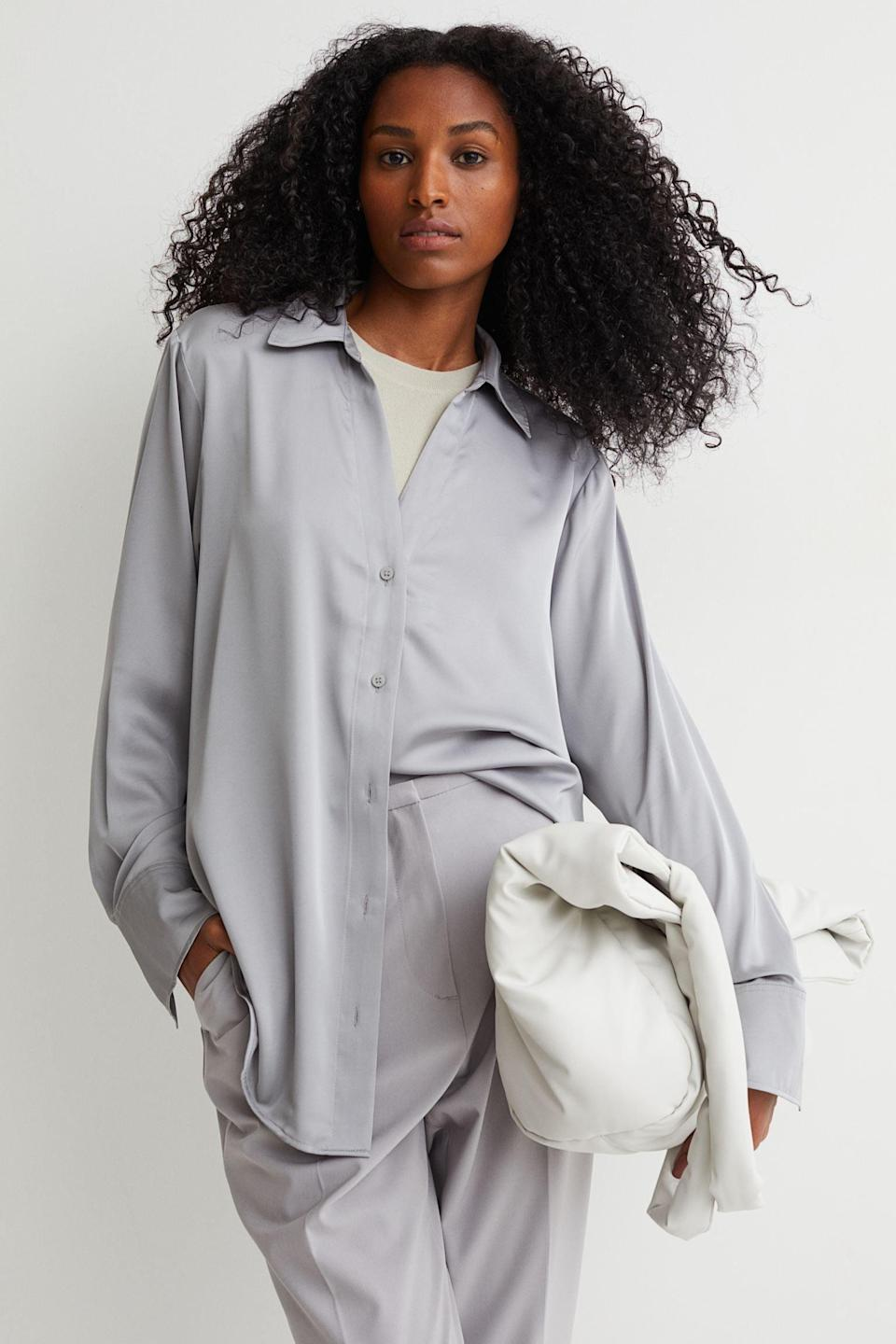 <p>This <span>V-neck Blouse</span> ($15, originally $18) looks a lot more expensive than it is, and it'll look even more stunning when paired with the matching pants. Whether you wear it to lounge at home or take it to a fancy dinner, you will look and feel fabulous in it.</p>