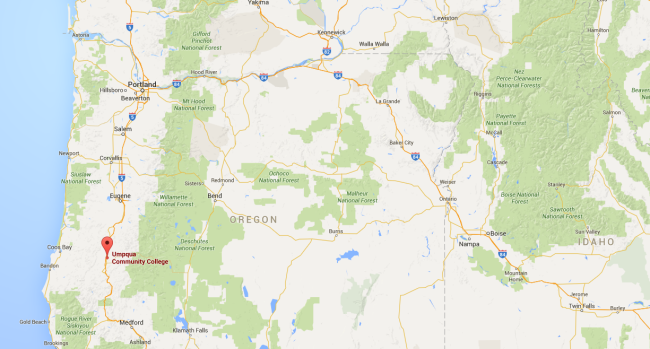 Umpqua Oregon Map.Police At Least 10 Dead After Shooter Opens Fire At Community College