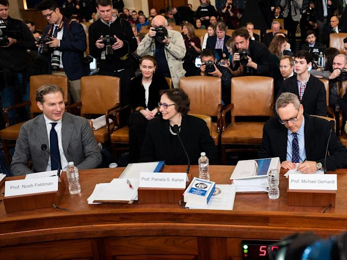 Noah Feldman, Professor of Law at Harvard University, Pamela Karlan, Professor of Law at Stanford University, Michael Gerhardt, Professor of Law at University of North Carolina, and Jonathan Turley, Professor of Law at The George Washington University Law School at the witness table of the House Judiciary Committee Impeachment Inquiry Hearing in Washington.