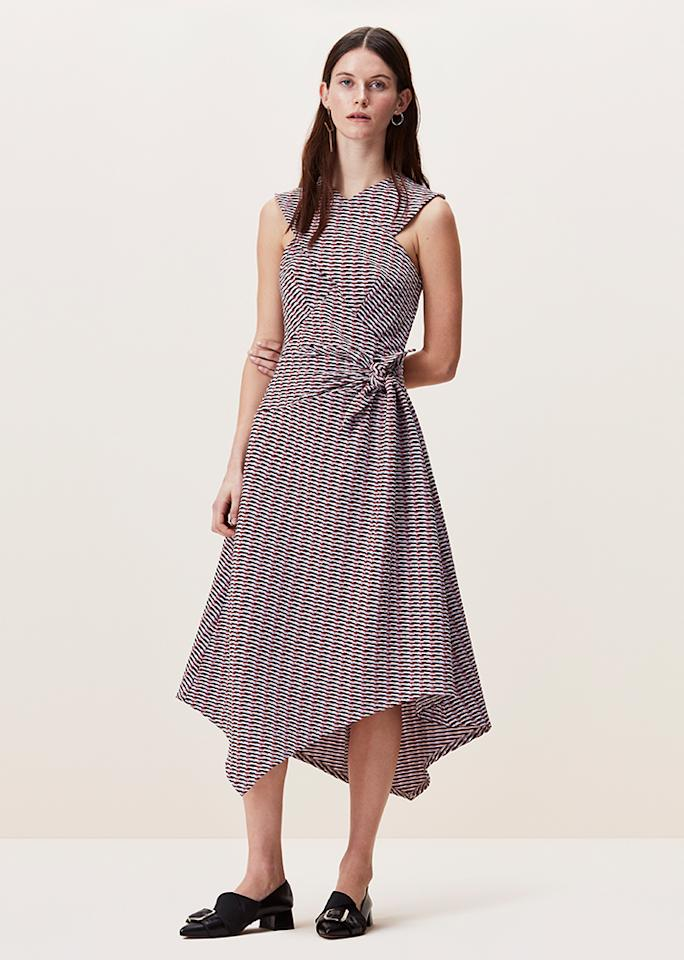 "Boulcott Stripe Jacquard Dress, $99; at <a rel=""nofollow"" href=""https://www.finerylondon.com/us/products/boulcott-stripe-jacquard-dress?taxon_id=6"">Finery London</a>"