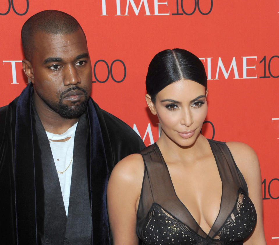 ***FILE PHOTO*** Kanye West Accuses Kim Kardashian Of Trying To Commit Him To Mental Hospital On Twitter. New York, NY- April 21: Kanye West and Kim Kardashian West attend the TIME 100 Gala at the Frederick P. Rose Hall on April 21, 2015 in New York City. Credit: John Palmer/MediaPunch /IPX