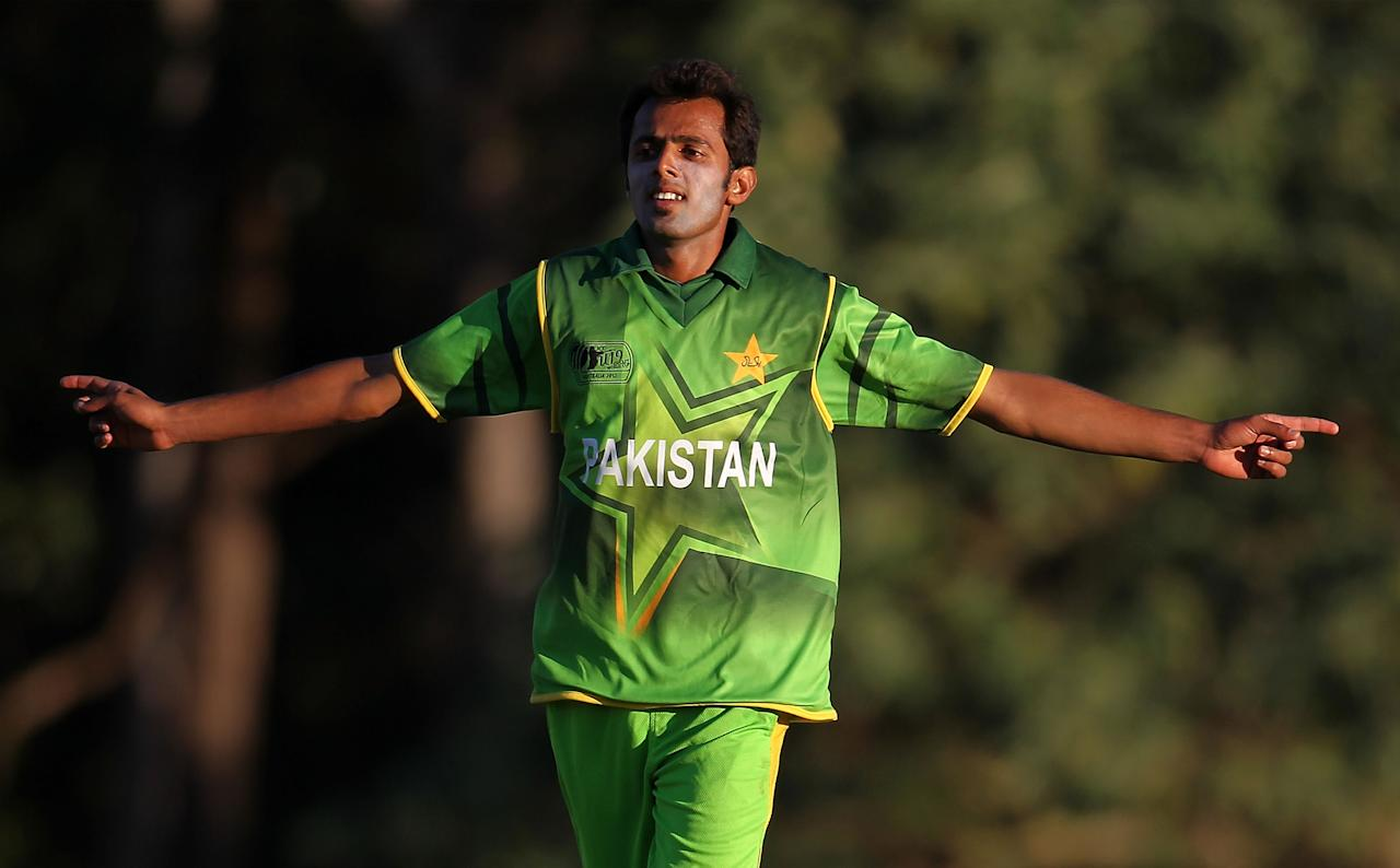 SUNSHINE COAST, AUSTRALIA - AUGUST 11:  Muhammad Zia Ul Haq of Pakistan celebrates the wicket of Afsar Khann of Afghanistan during the ICC U19 Cricket World Cup 2012 match between Pakistan and Afghanistan at John Blanck Oval on August 11, 2012 in Sunshine Coast, Australia.  (Photo by Graham Denholm-ICC/Getty Images)