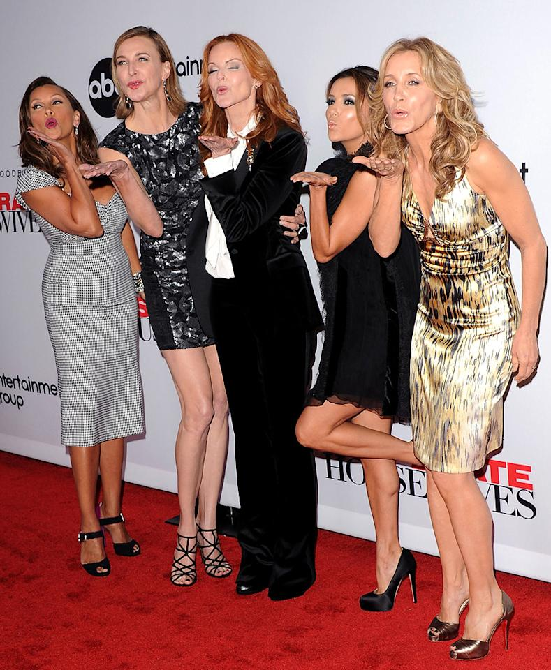 """It's the beginning of the end for the ladies of ABC's """"Desperate Housewives."""" The show's stars (L-R) Vanessa Williams, Brenda Strong, Marcia Cross, Eva Longoria, and Felicity Huffman blew kisses on the red carpet at Wednesday's Final Season Kick-Off Party in Universal City, California. The eighth season of the primetime soap will be its last. Jon Kopaloff/<a href=""""http://www.filmmagic.com/"""" target=""""new"""">FilmMagic.com</a> - September 21, 2011"""