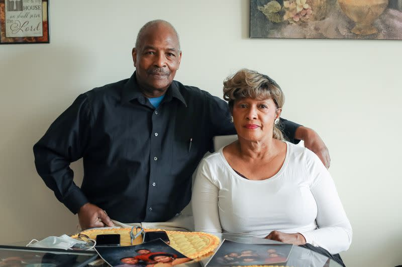 Frank and Sharlene Simmons pose for a photograph in Rochester, New York