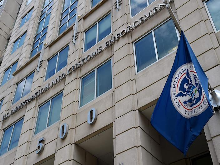the Department of Homeland Security flag flies outside the Immigration and Customs Enforcement (ICE) headquarters in Washington, DC ((AFP))