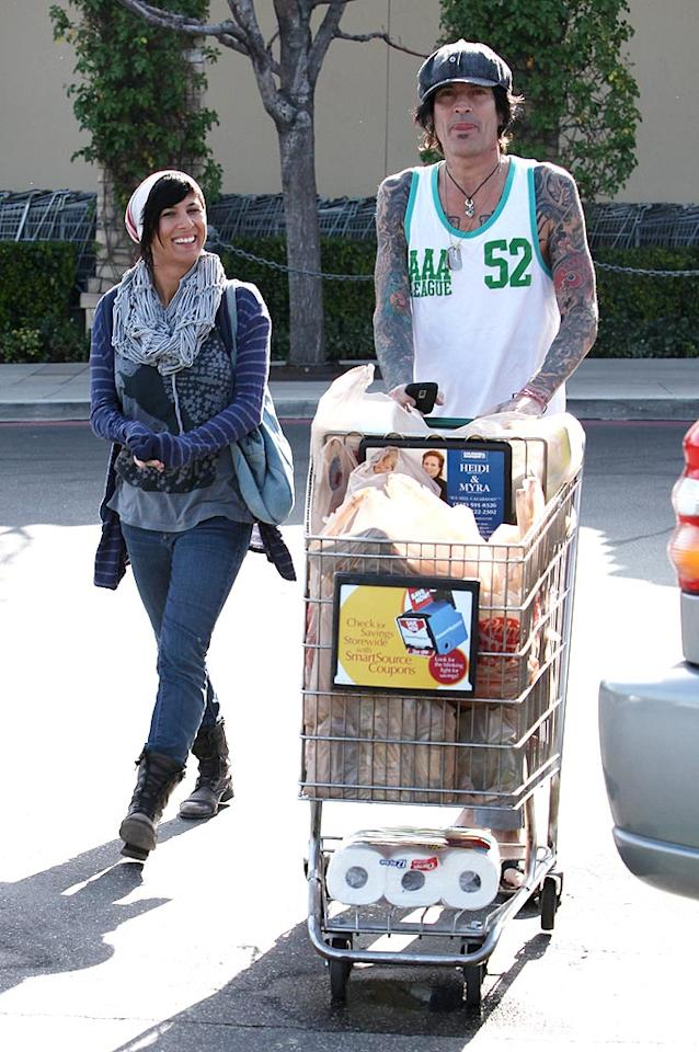 "Think Tommy Lee cooked dinner for his girlfriend Sofia Toufa on Saturday night after making a trip to the grocery store? RS/<a href=""http://www.x17online.com"" target=""new"">X17 Online</a> - March 20, 2010"
