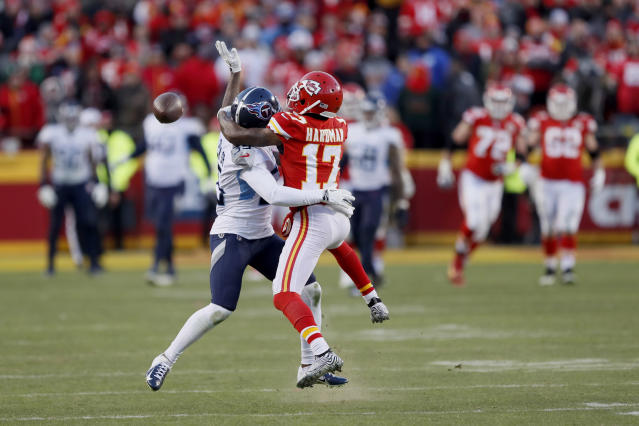 Sorry, Titans fans. This was pass interference. (AP Photo/Charlie Neibergall)