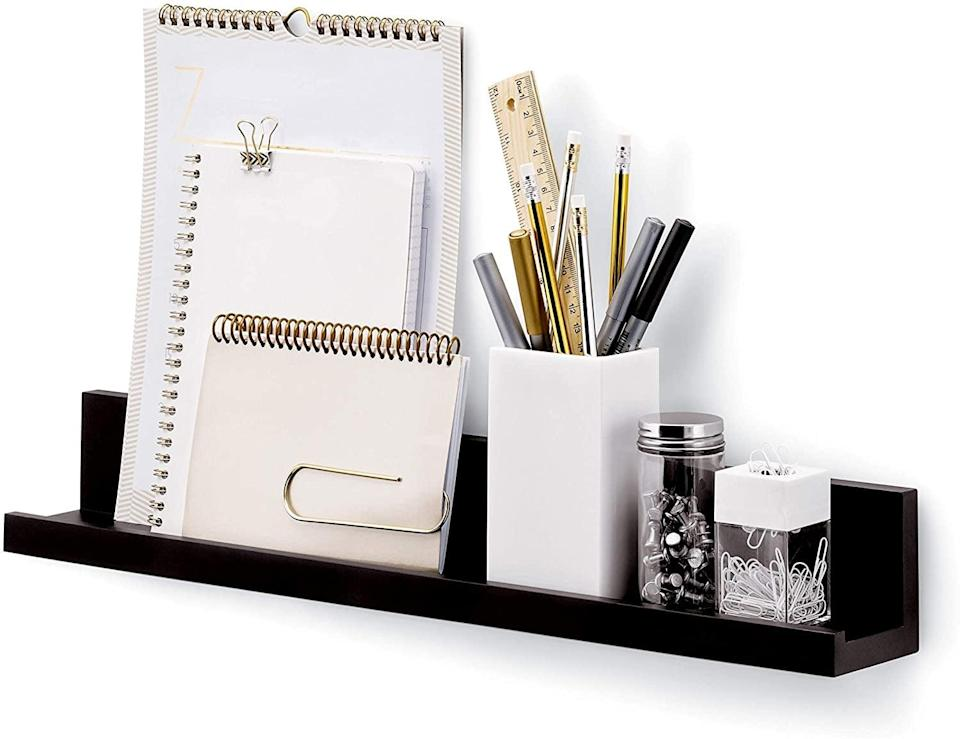 <p>From school supplies to keys, masks, and other essentials, the <span>Command Picture Ledge</span> ($15, originally $20) will make use of your wall space so you can store and display anything you want and holds up to five pounds. It comes with 10 medium strips so you can reuse and hang the shelf at your next place without any damage. </p>
