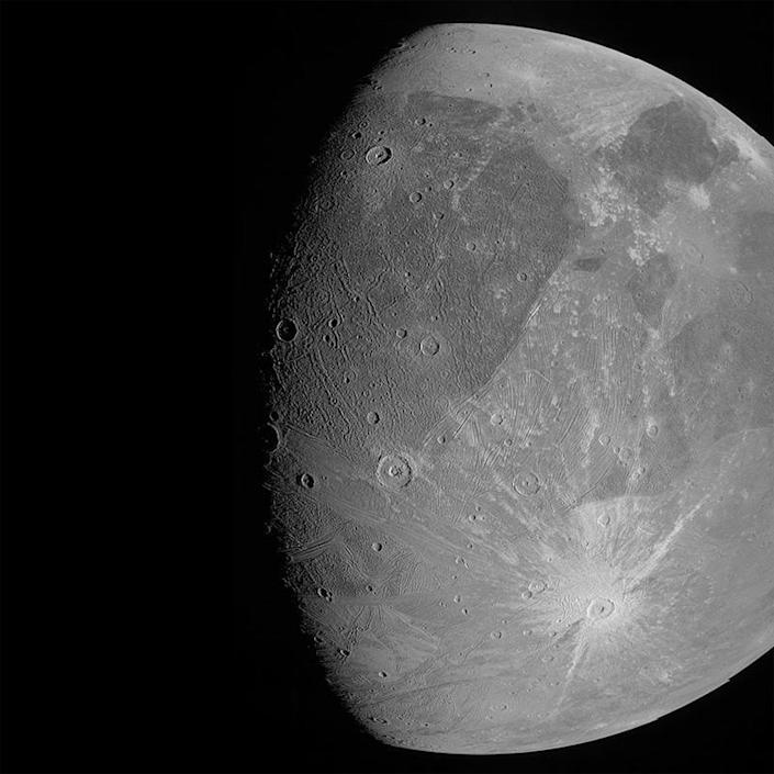 NASA's Juno spacecraft captured high-resolution views of Jupiter's moon Ganymede during a flyby Monday at an altitude of about 645 miles. The flyby was the first close-up look at the big moon since NASA's Galileo orbiter flew past for the last time in 2000. / Credit: NASA/JPL-Caltech/SwRI/MSSS