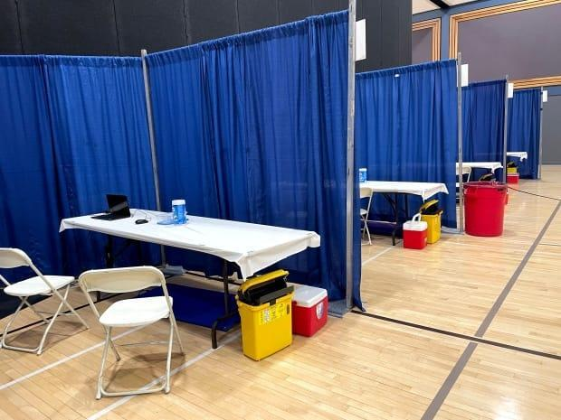The vaccine clinic setup in the Prince George Conference and Civic Centre.