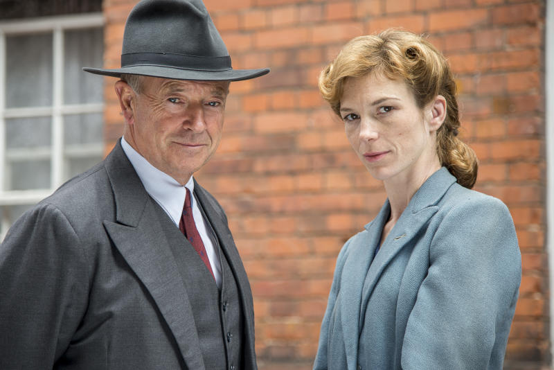 """Michael Kitchen, left, and Honeysuckle Weeks are shown from the series """"Foyle's War,"""" premiering its new season on """"MASTERPIECE Mystery!"""" on PBS on Sept. 15, 22, and 29. (AP Photo/PBS- ITV, Bernard Walsh)"""