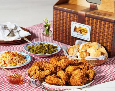 Cracker Barrel's Southern Fried Chicken Picnic Box is the perfect family meal to-go. The Picnic Box's unique packaging makes it easy to carry home a complete meal, including 12 perfectly golden pieces of double-breaded, crispy, juicy, Southern Fried Chicken, a choice of two country sides, and buttermilk biscuits. A half-gallon of sweet or unsweetened tea, lemonade or strawberry lemonade, and banana pudding or cookies can be added for an additional charge. The Picnic Box will be available nationwide beginning on May 20 for $33.99.