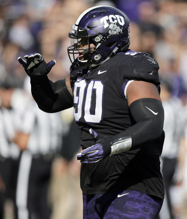 "TCU defensive tackle <a class=""link rapid-noclick-resp"" href=""/ncaaf/players/264360/"" data-ylk=""slk:Ross Blacklock"">Ross Blacklock</a> will miss the 2018 season after suffering an Achilles injury on Tuesday in practice. (AP Photo/Brandon Wade)"