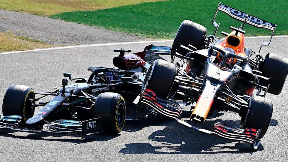 Max Verstappen's collision with Lewis Hamilton at the Italian Grand Prix was the latest flashpoint in the pair's F1 championship battle. (Photo by Peter Van Egmond/Getty Images)