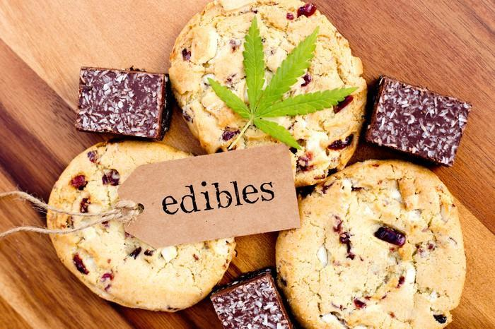 A cannabis leaf and a label with the word edibles written on it that's lying atop cookies and brownies.