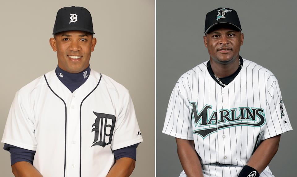 Former big leaguers Octavio Dotel (left) and Luis Castillo were arrested Tuesday in the Dominican Republic and linked to a drug trafficking ring. (AP)