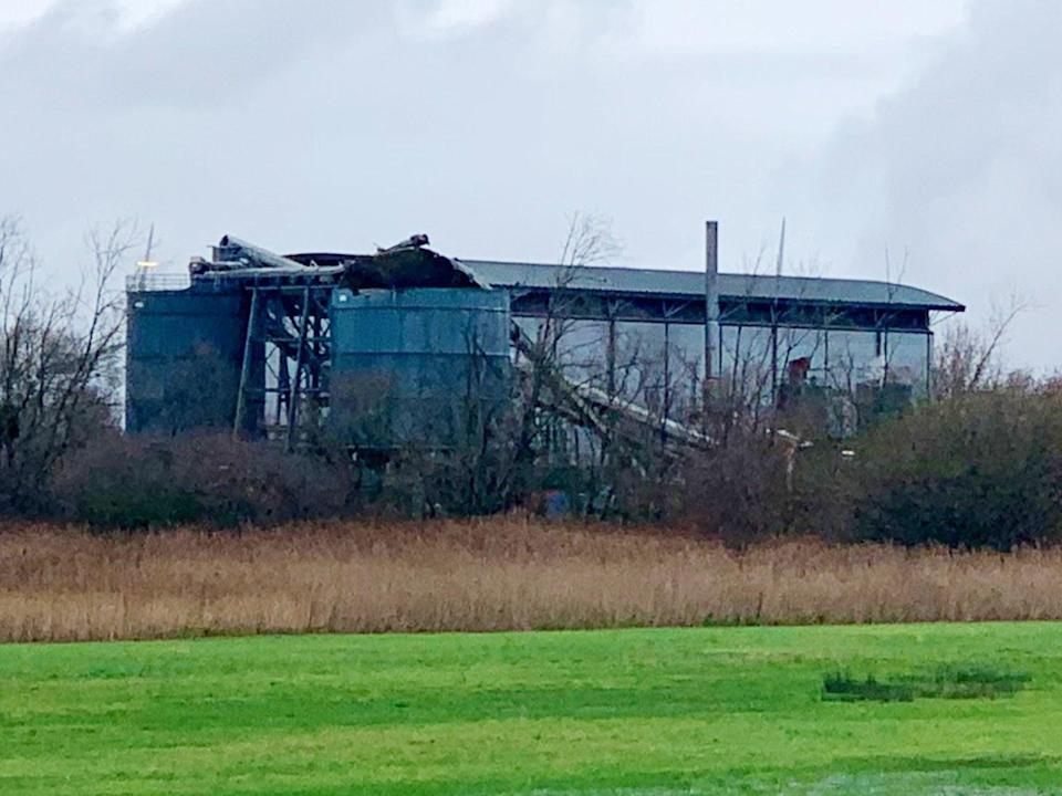 A warehouse in Avonmouth, near Bristol, where emergency services were called to reports of a large blast (@jawadburhan98/Twitter/PA)