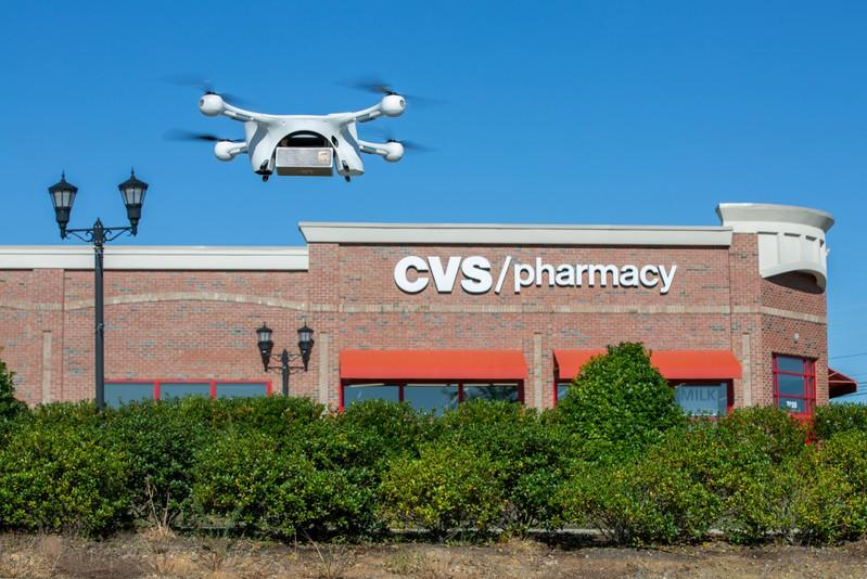A UPS Flight Forward drone takes off during the first residential delivery of prescription medication for CVS in Cary