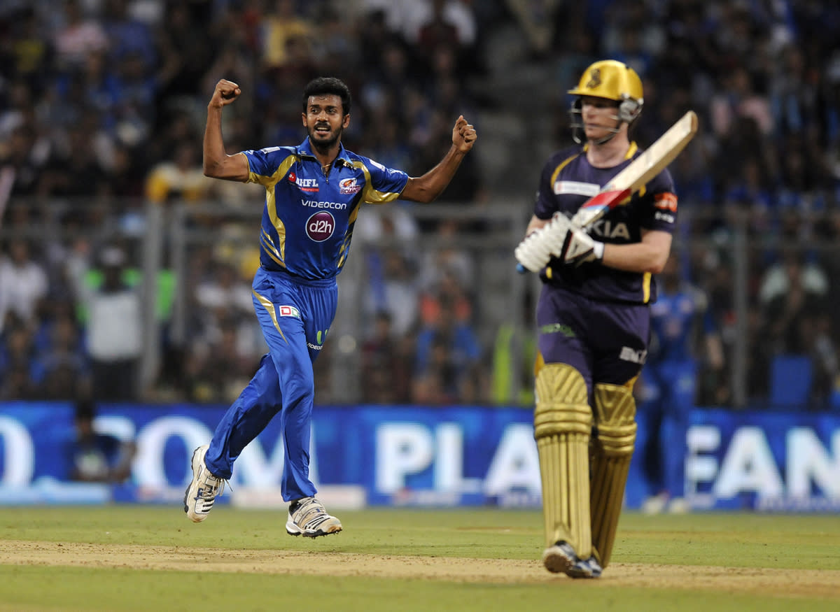 Abu Nechim of Mumbai Indians celebrates the wicket of Eoin Morgan of Kolkata Knight Riders during match 53 of the Pepsi Indian Premier League ( IPL) 2013  between The Mumbai Indians and the Kolkata Knight Riders held at the Wankhede Stadium in Mumbai on the 7th May 2013 ..Photo by Pal Pillai-IPL-SPORTZPICS  ..Use of this image is subject to the terms and conditions as outlined by the BCCI. These terms can be found by following this link:..https://ec.yimg.com/ec?url=http%3a%2f%2fwww.sportzpics.co.za%2fimage%2fI0000SoRagM2cIEc&t=1490428856&sig=EngnjTA09p43ScPglHm6Tw--~C