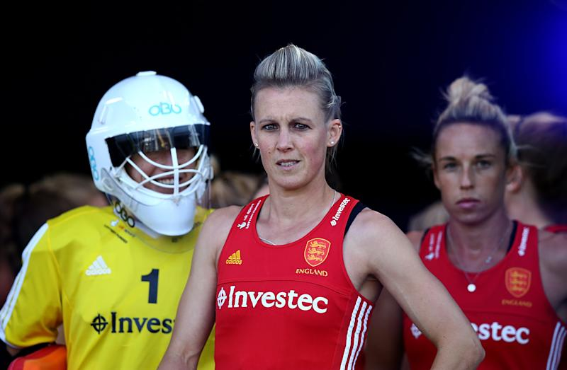 JOHANNESBURG, SOUTH AFRICA - JULY 12: Alex Danson of England looks on from inside the tunnel area during day 3 of the FIH Hockey World League Semi Finals Pool A match between Japan and England at Wits University on July 12, 2017 in Johannesburg, South Africa. (Photo by Jan Kruger/Getty Images for FIH)