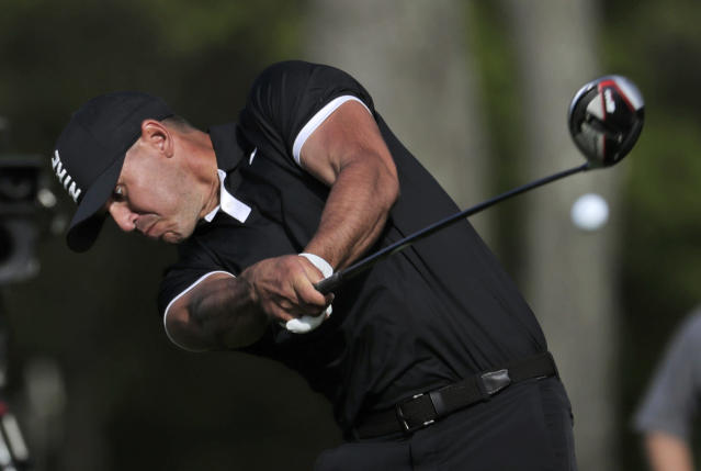 Brooks Koepka drives off the 12th tee during the third round of the PGA Championship golf tournament, Saturday, May 18, 2019, at Bethpage Black in Farmingdale, N.Y. (AP Photo/Julio Cortez)