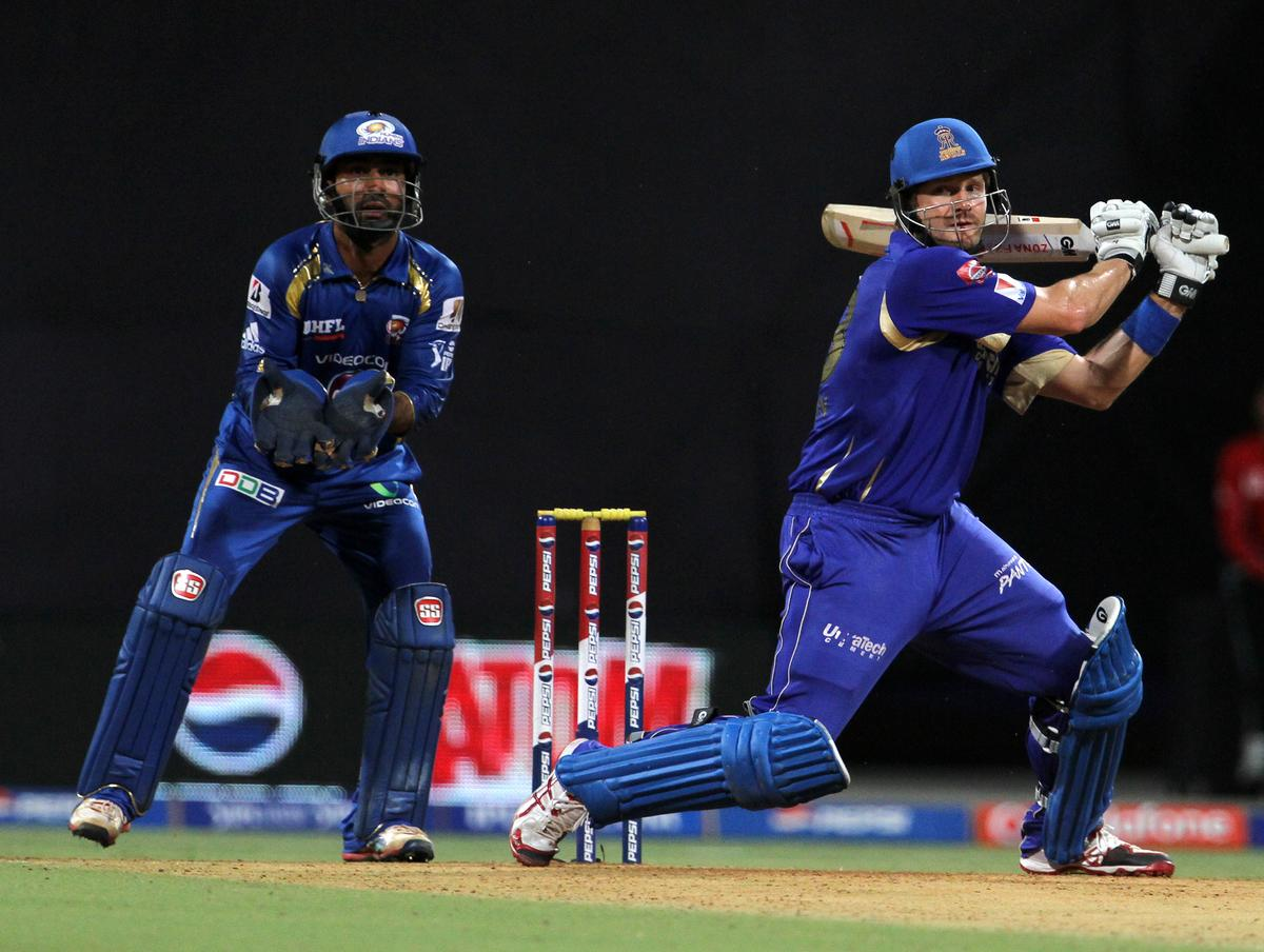 Rajasthan Royals player Shane Watson plays a shot during match 66 of the Pepsi Indian Premier League ( IPL) 2013  between The Mumbai Indians and the Rajasthan Royals held at the Wankhede Stadium in Mumbai on the 15th May 2013 ..Photo by Vipin Pawar-IPL-SPORTZPICS ..Use of this image is subject to the terms and conditions as outlined by the BCCI. These terms can be found by following this link:..https://ec.yimg.com/ec?url=http%3a%2f%2fwww.sportzpics.co.za%2fimage%2fI0000SoRagM2cIEc&t=1506340971&sig=h27seDILARX.x8FOjU0XqQ--~D