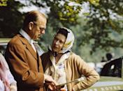 """<p>The Queen and Prince Philip chat together during The Royal Windsor Horse Show in the grounds of <a href=""""https://www.goodhousekeeping.com/uk/news/a575296/st-georges-chapel-windsor-castle-facts/"""" rel=""""nofollow noopener"""" target=""""_blank"""" data-ylk=""""slk:Windsor Castle"""" class=""""link rapid-noclick-resp"""">Windsor Castle</a>.</p>"""