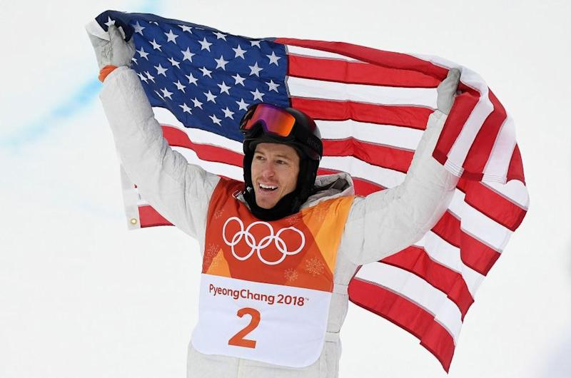 Snowboarder Shaun White after winning gold in the men's halfpipe at the 2018 Winter Olympics