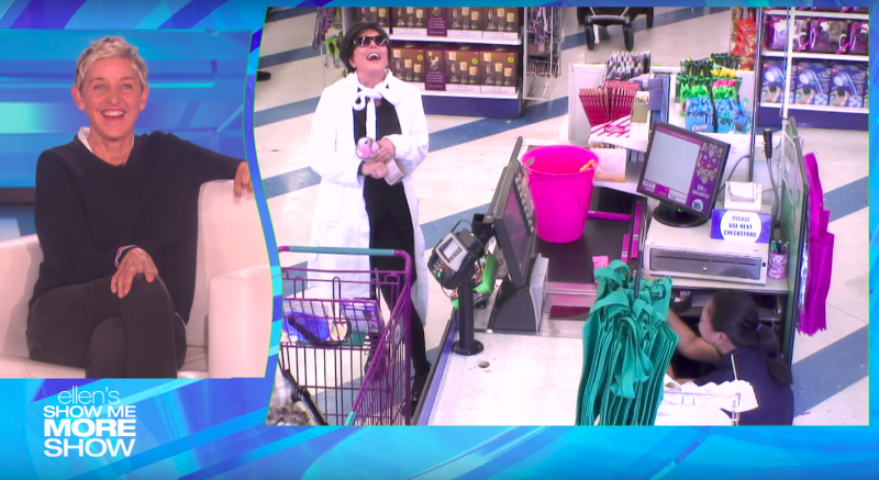 "Kris Jenner laughs loudly after telling the cashier, who briefly hid behind the register, that she was being pranked on ""The Ellen DeGeneres Show."" (The Ellen Show)"