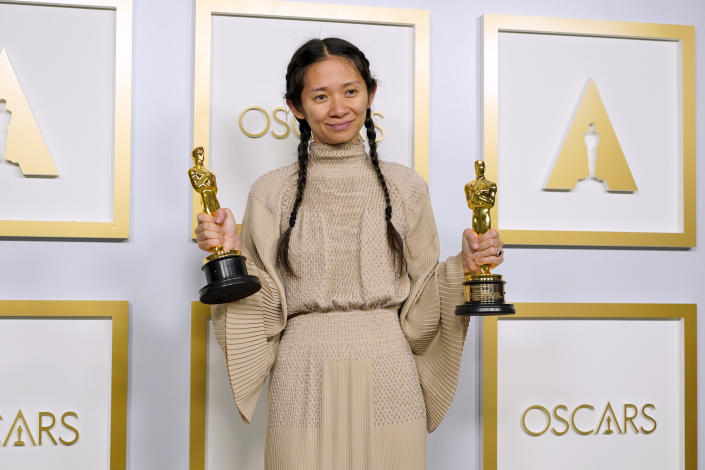 LOS ANGELES, CALIFORNIA - APRIL 25: Director/Producer Chloe Zhao, winner of Best Directing and Best Picture for