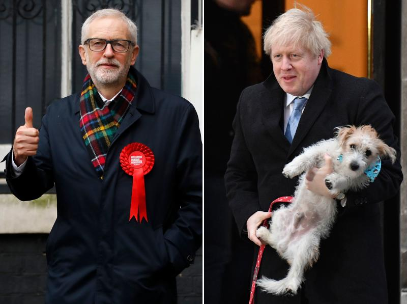 Britain's Prime Minister Boris Johnson and his dog Dilyn (top), and Britain's Labour Party leader Jeremy Corbyn, are are seen as they attend Polling Stations to cast their ballot papers and vote on December 12, 2019.
