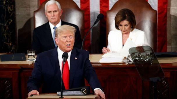 PHOTO: President Donald Trump delivers his State of the Union address to a joint session of Congress on Capitol Hill in Washington, Feb. 4, 2020, as Vice President Mike Pence and House Speaker Nancy Pelosi watch. (Patrick Semansky/AP)