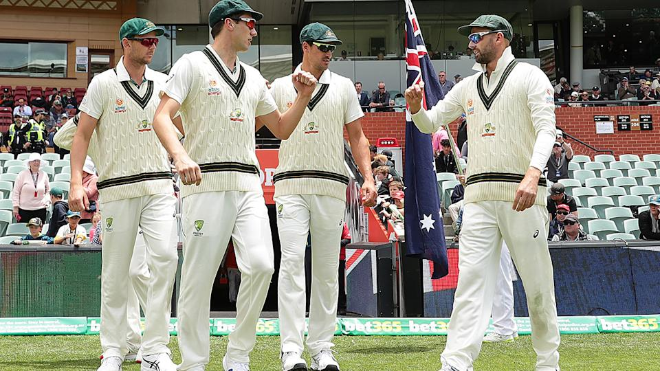 Josh Hazlewood, Pat Cummins, Mitchell Starc and Nathan Lyon, pictured here during a Test match in 2019.