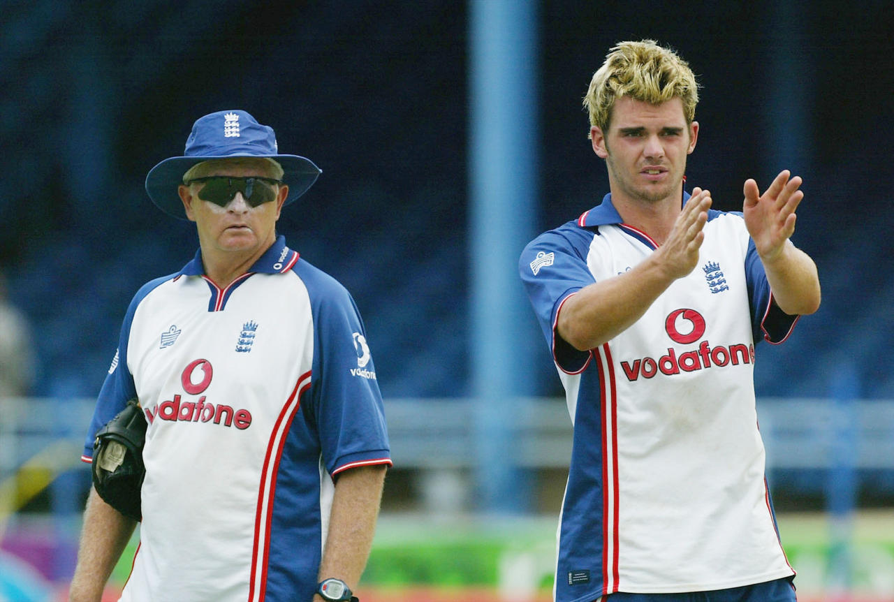 PORT OF SPAIN, TRINIDAD - APRIL 22:  James Anderson of England has a chat with coach Duncan Fletcher during the England nets session at the Queens Park Oval on April 22, 2004 in Port of Spain, Trinidad. (Photo by Tom Shaw/Getty Images)