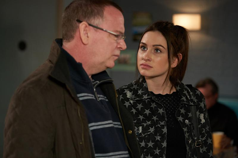 Ian Beale (ADAM WOODYATT), Dotty Cotton (MILLY ZERO) - (BBC - Photographer: Kieron McCarron/Jack Barnes)
