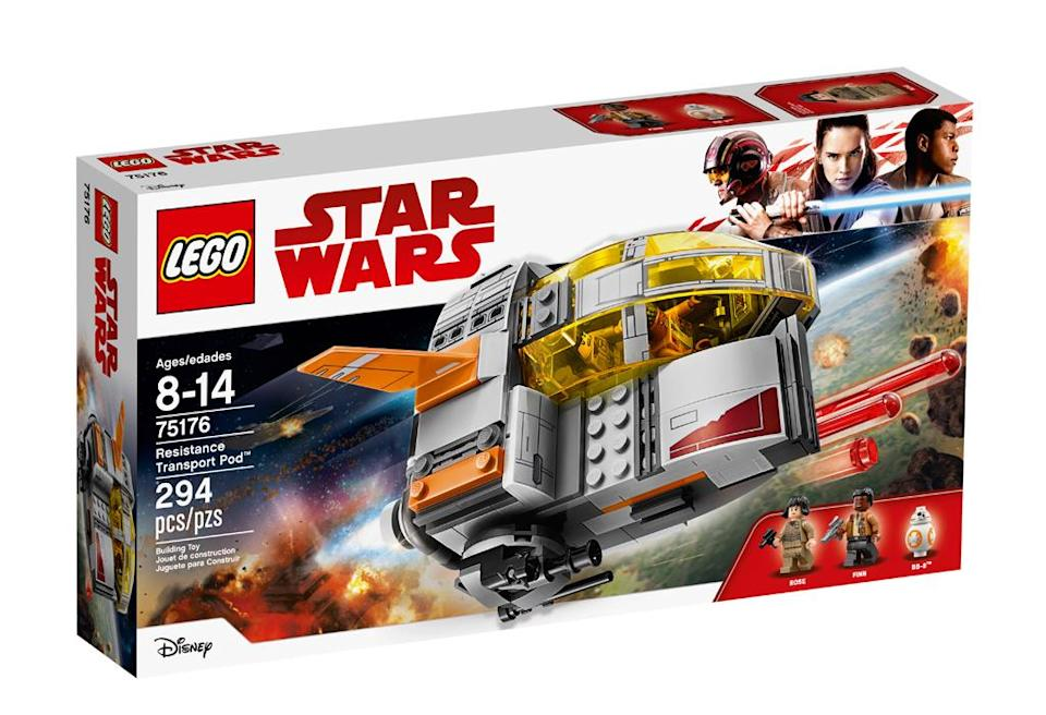 """<p>""""Escape to safety in the Resistance Transport Pod. Open the cockpit, seat Finn and Rose and launch! If our heroes run into trouble, turn the engine to aim the stud shooter or roll the wheel to fire the spring-loaded shooters! Now has anyone seen BB-8?"""" $29.99 (Photo: Lego) </p>"""