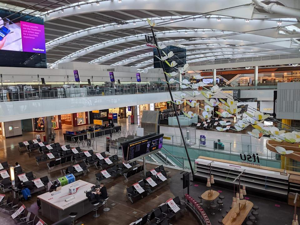 The departures area of T5, where seats are blocked off to allow for social distancingCathy Adams