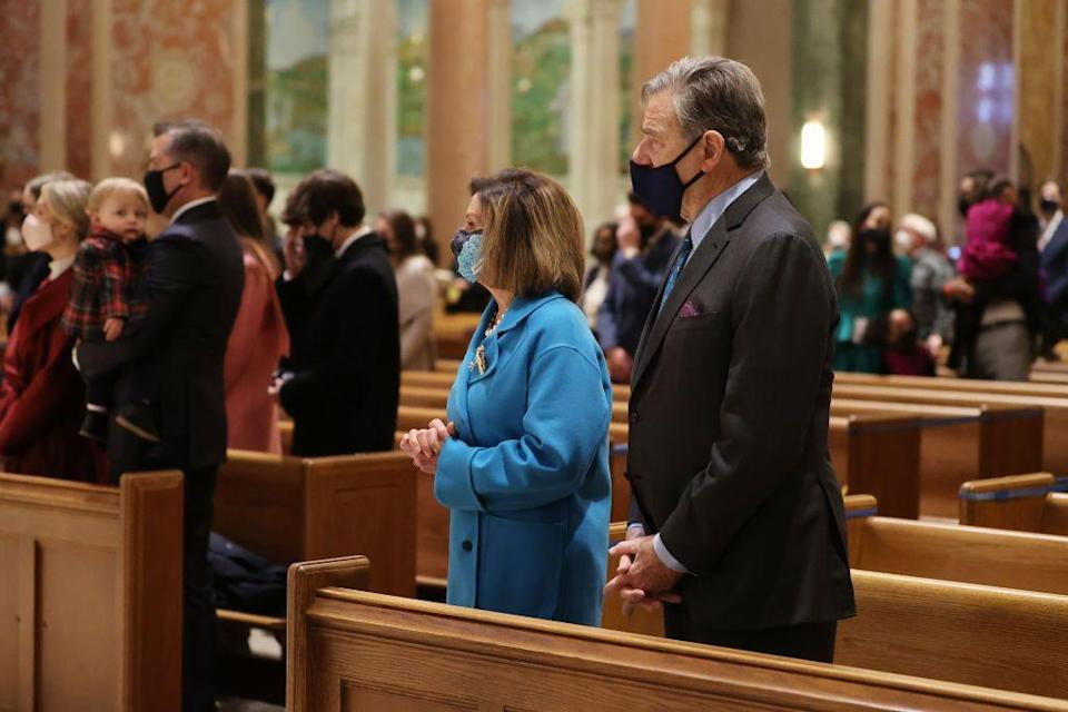 <p>Nancy Pelosi is joined by her husband Paul Pelosi at the service.</p>