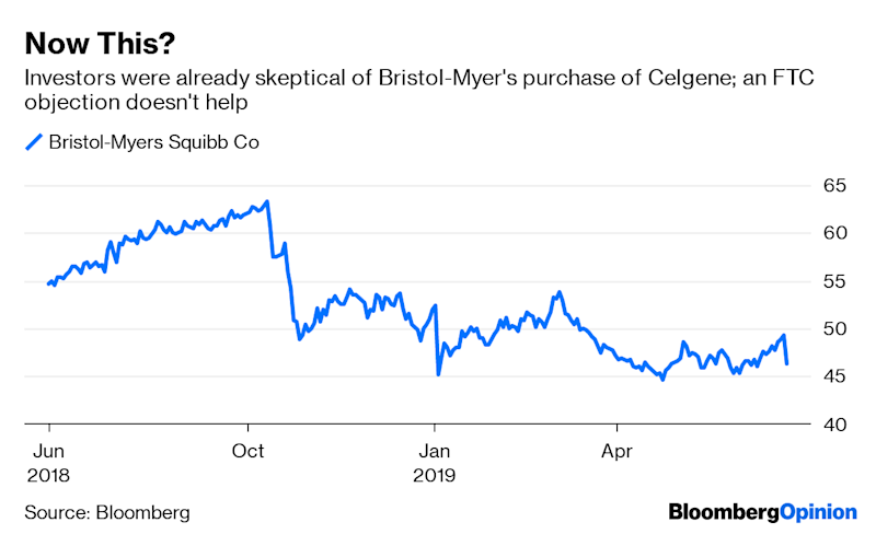 (Bloomberg Opinion) -- Bristol-Myers Squibb Co. really wants to get its $74 billion deal for Celgene Inc. done.The pharmagiantannounced Monday that it is planning to divest Celgene's blockbuster psoriasis medicationOtezlato addressconcerns by the Federal Trade Commission likely related to potential market concentration. Bristol-Myershas a competing product in late-stage trials and a marketed inflammationdrug of its own in Orencia. It had previously hoped to close the deal by Sept. 30. Now it is targeting the end of the year, or early 2020.The FTC's unexpected objection –analysts didn't think divestitures would be required –demonstrates the hidden perils of drug megamergers and adds risk to what was already the year's priciest pharma deal.Regulators seemingly don't wantBristol-Myers to retain all three assets.If one had to go, it makes some sense that it'sOtezla. Orencia generates more revenue, but Otezla has a longer runway and more growth potential. That could see it achieve a comparatively higher multiple in a sale. As for Bristol-Myers'spipeline drug, a salewouldn't impact current cash flow as the medicine isstill in development, but it might not bring much of a return or assuage regulators.Even if selling Otezla is the right call, it's a tough decision and will hurt.Otezla accounted for 10% of Celgene's sales last year, andcreating an industry-leading inflammation franchisewas a big selling point for thedeal with Bristol-Myers. The combined company will have significantly less scale in that area now.Bristol-Myers also may have trouble getting the price it wants for a valuable asset through this pressured process.The FTC's objections to this part of the deal are surprising. Orencia and Otezla work in different ways, and overlap in just one of their several indicated uses. The competitive threat from the pipeline drugis still entirely theoretical.The high regulatory bar that Bristol-Myers has revealed could limit the pool of potential buyers.Many of the big pharma