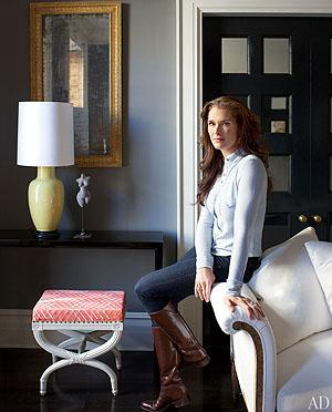 Brooke Shields sits in her renovated Greenwich village town home. William Waldron/AD