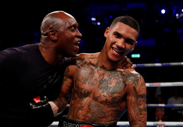 Boxing - Conor Benn v Chris Truman - Echo Arena, Liverpool, Britain - April 21, 2018 Conor Benn celebrates with his father, Nigel Benn after winning the fight Action Images via Reuters/Andrew Couldridge