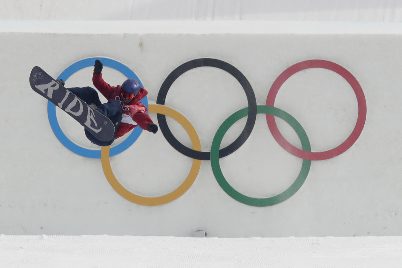 <p>Billy Morgan, of Great Britain, jumps during training for the men's Big Air snowboard competition at the 2018 Winter Olympics in Pyeongchang, South Korea, Saturday, Feb. 24, 2018. (AP Photo/Dmitri Lovetsky) </p>